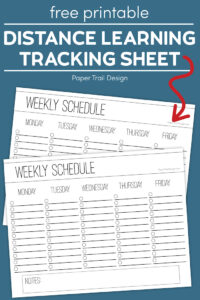 Two weekly checklist schedule page on a blue background with text overlay- free printable distance learning tracking sheet