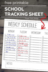 Weekly checklist schedule page on a wood background with text overlay- free printable school tracking sheet