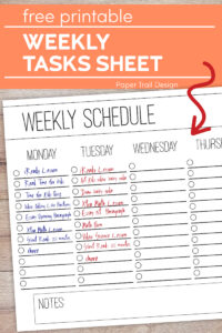 Weekly checklist schedule page on a wood background with text overlay- free printable weekly tasks sheet