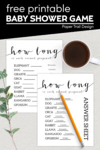 Animal pregnancy length baby shower game printable with text overlay- free printable baby shower game
