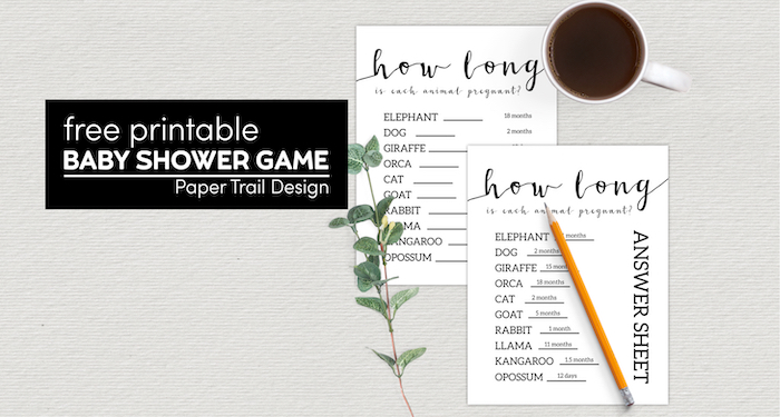 guess the length of the animal pregnancies baby shower game with text overlay- free printable baby shower game