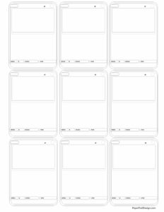 Nine basic pokemon card templates in black and white