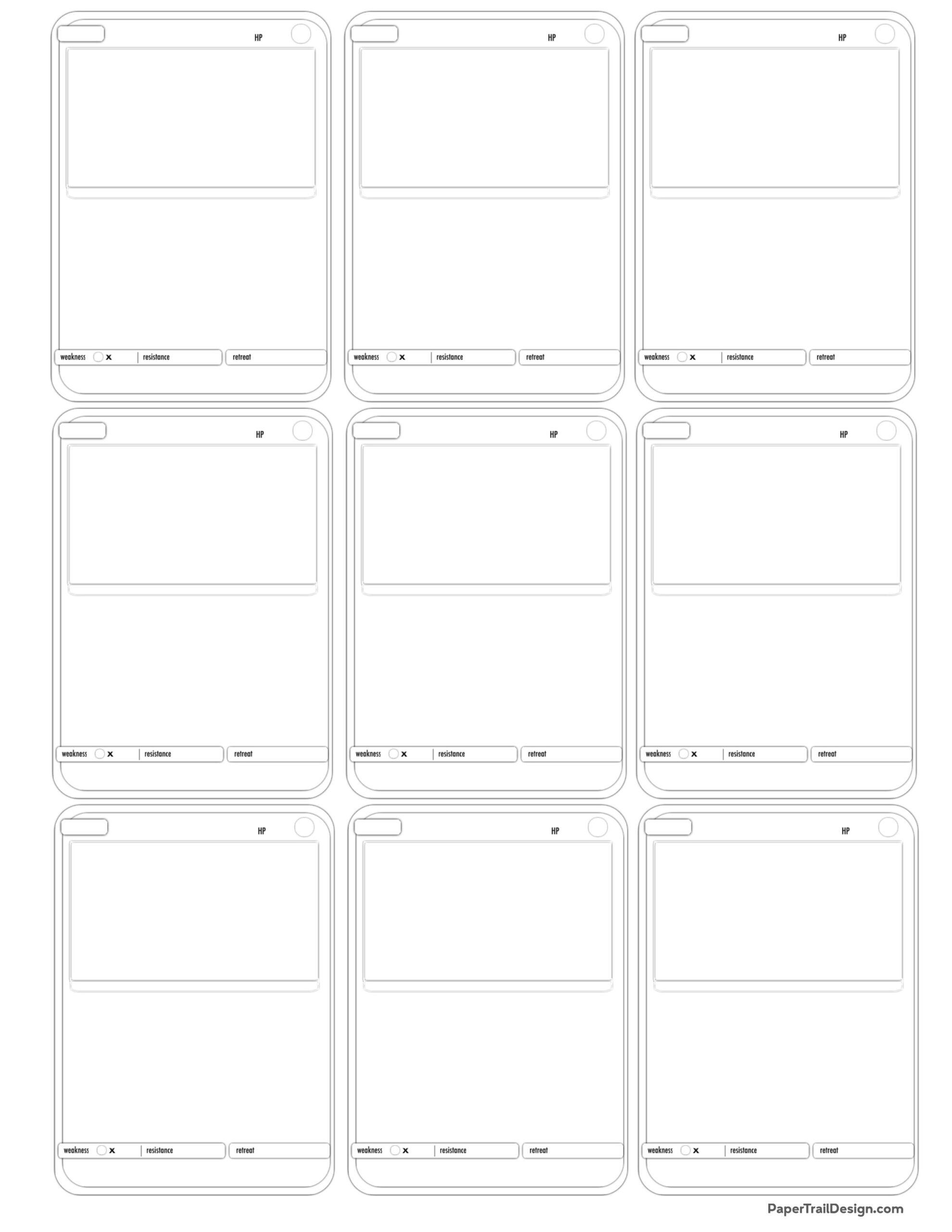 Pokemon Card Template Free Printable Paper Trail Design