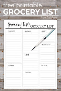 grocery list with categories: produce, pantry, baking, meat, frozen, dairy, household, and other on wood background with blue pen over top with text overlay- free printable grocery list