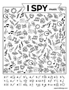 I spy printable activity page with various musical instruments and music symbols to find
