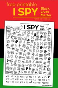 Black Lives Matter themed I spy activity on a red, black, and green background with text overlay- free printable I spy Black Lives Matter
