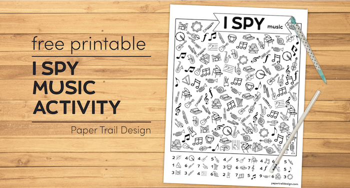 I spy music themed activity on wood background with pen and pencil and text overlay- free printable I spy music activity