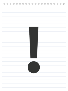 Exclamation Point back to school banner letter designed to look like a notepad.