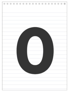 Number 0 back to school banner letter designed to look like a notepad.