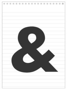 Ampersand & sign back to school banner letter designed to look like a notepad.