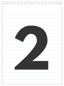 Number 2 back to school banner letter designed to look like a notepad.