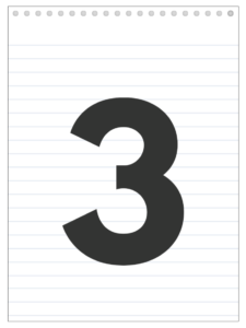 Number 3 back to school banner letter designed to look like a notepad.
