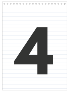 Number 4 back to school banner letter designed to look like a notepad.
