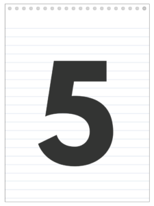 Number 5 back to school banner letter designed to look like a notepad.