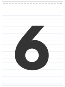 Number 6 back to school banner letter designed to look like a notepad.