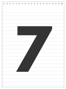 Number 7 back to school banner letter designed to look like a notepad.