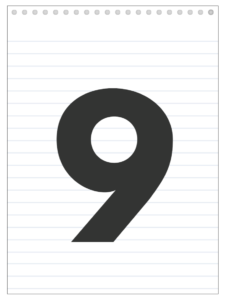 Number 9 back to school banner letter designed to look like a notepad.
