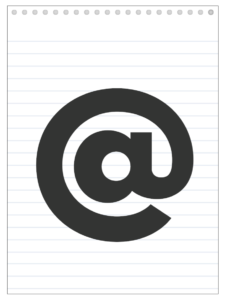 At symbol back to school banner letter designed to look like a notepad.
