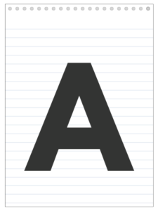 Letter A back to school banner letter designed to look like a notepad.