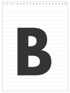 Letter B back to school banner letter designed to look like a notepad.
