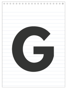 Letter G back to school banner letter designed to look like a notepad.