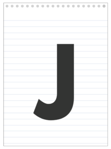 Letter J back to school banner letter designed to look like a notepad.