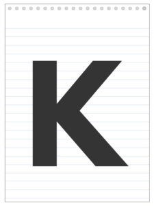 Letter K back to school banner letter designed to look like a notepad.