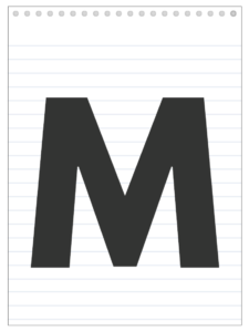 Letter M back to school banner letter designed to look like a notepad.