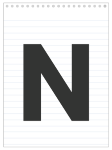 Letter N back to school banner letter designed to look like a notepad.