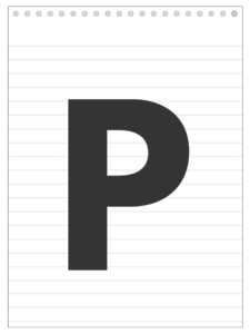 Letter P back to school banner letter designed to look like a notepad.