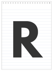 Letter R back to school banner letter designed to look like a notepad.