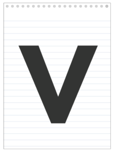 Letter V back to school banner letter designed to look like a notepad.