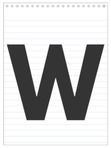 Letter W back to school banner letter designed to look like a notepad.