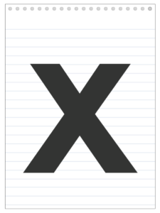 Letter X back to school banner letter designed to look like a notepad.