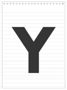 Letter Y back to school banner letter designed to look like a notepad.