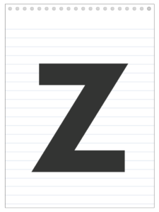 Letter Z back to school banner letter designed to look like a notepad.