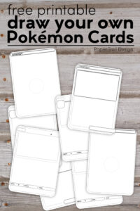 Black and white Pokemon card templates on a wood background with text overlay- free printable draw your own Pokemon cards