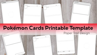 Black and white Pokemon card templates on a wood background with text overlay- Pokemon cards printable template