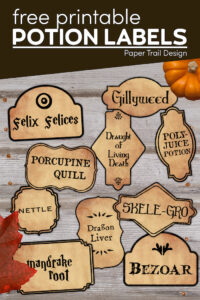 Harry Potter potion bottle labels to print with text overlay- free printable potion labels