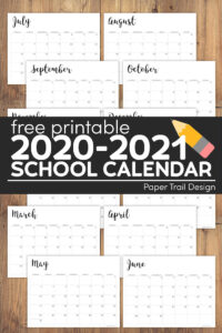 school year calendar with text overlay-free printable 2020-2021 school calendar