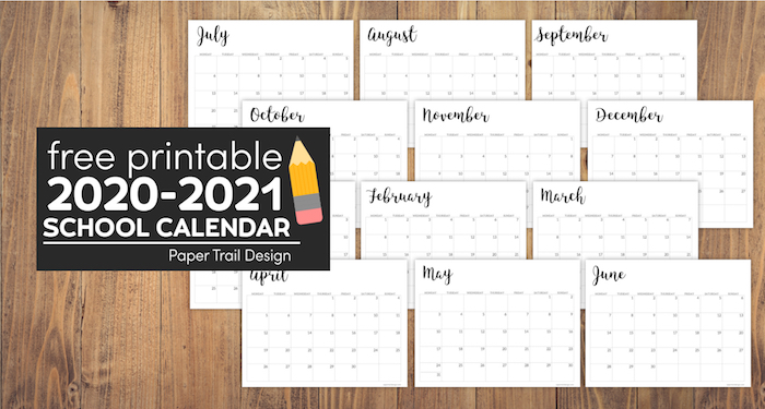 September 2021 School Calendar 2020 2021 Printable School Calendar | Paper Trail Design