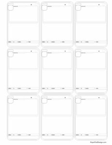 Nine evolution pokemon card templates in black and white