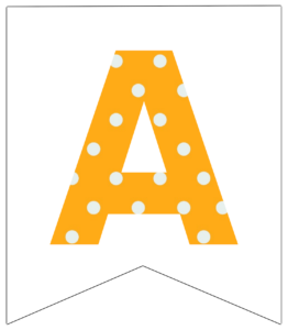 Letter A yellow polka dot banner pennet for happy birthday sign
