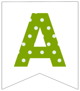 Letter A green polka dot banner pennet for happy birthday sign
