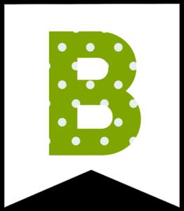 Letter B green polka dot banner pennet for happy birthday sign
