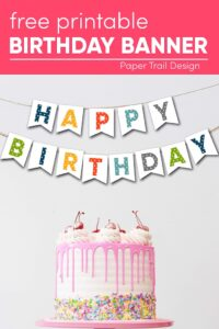 Pink cake with happy birthday banner with text overlay- free printable birthday banner