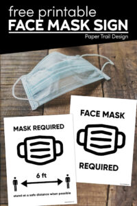 Blue facemask with two face mask required signs with text overlay- free printable face mask sign