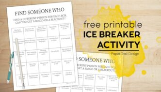 Get to know you bingo with pen and pencil with text overlay- free printable ice breaker activity