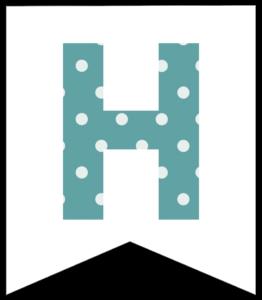 Letter H blue polka dot banner pennet for happy birthday sign