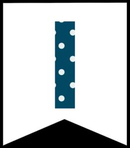 Letter I blue polka dot banner pennet for happy birthday sign
